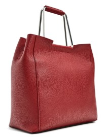 Soft Tote Bag with Metallic Handles in Red, $36